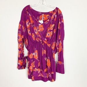 Free People | floral print long sleeve tunic top S